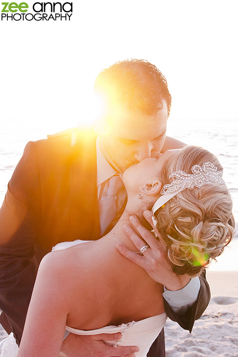 Sunset Kiss Wedding Shot on Beach