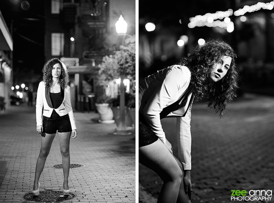 model at night in downtown fort myers florida