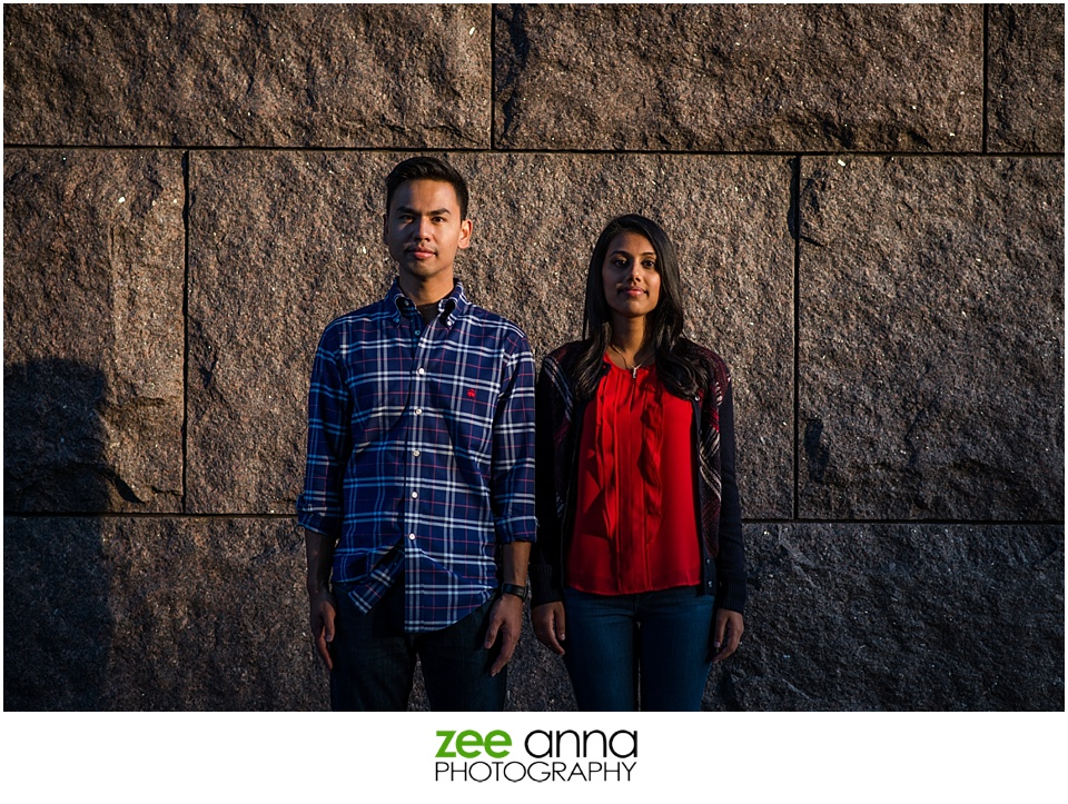 Washington Monument engagement portrait by Zee Anna Photography