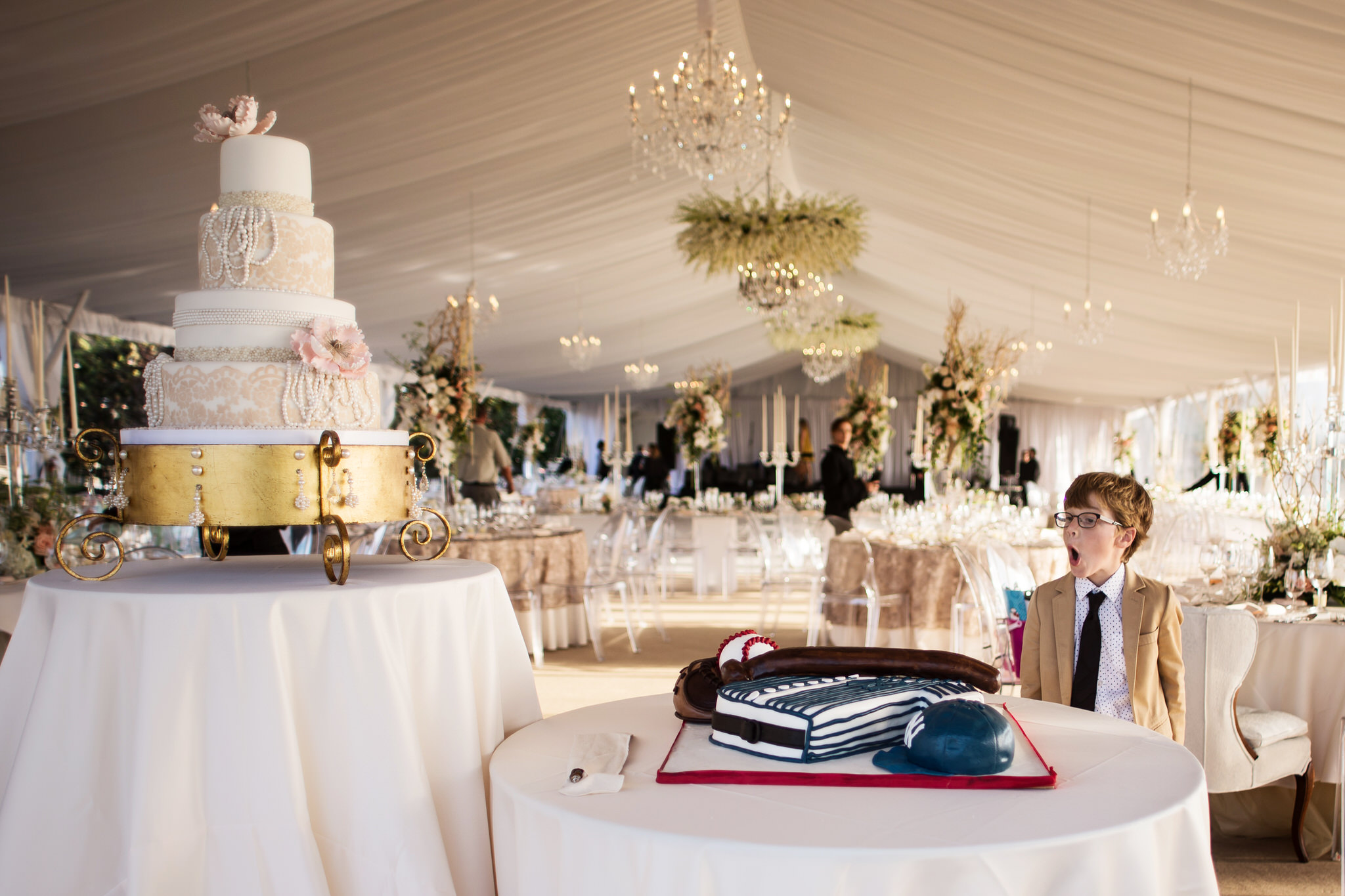 Tented Candid photo of ringbearer in Naples, Florida