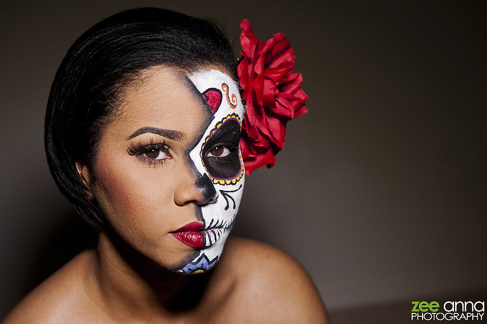 Female Sugar Skull Day of the Dead Make Up