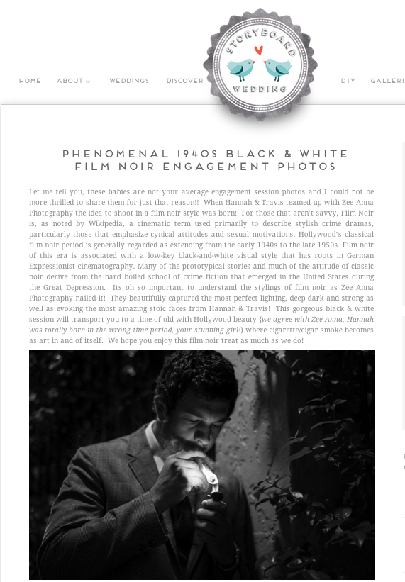 Film Noir Shoot Published on Storyboard Weddings