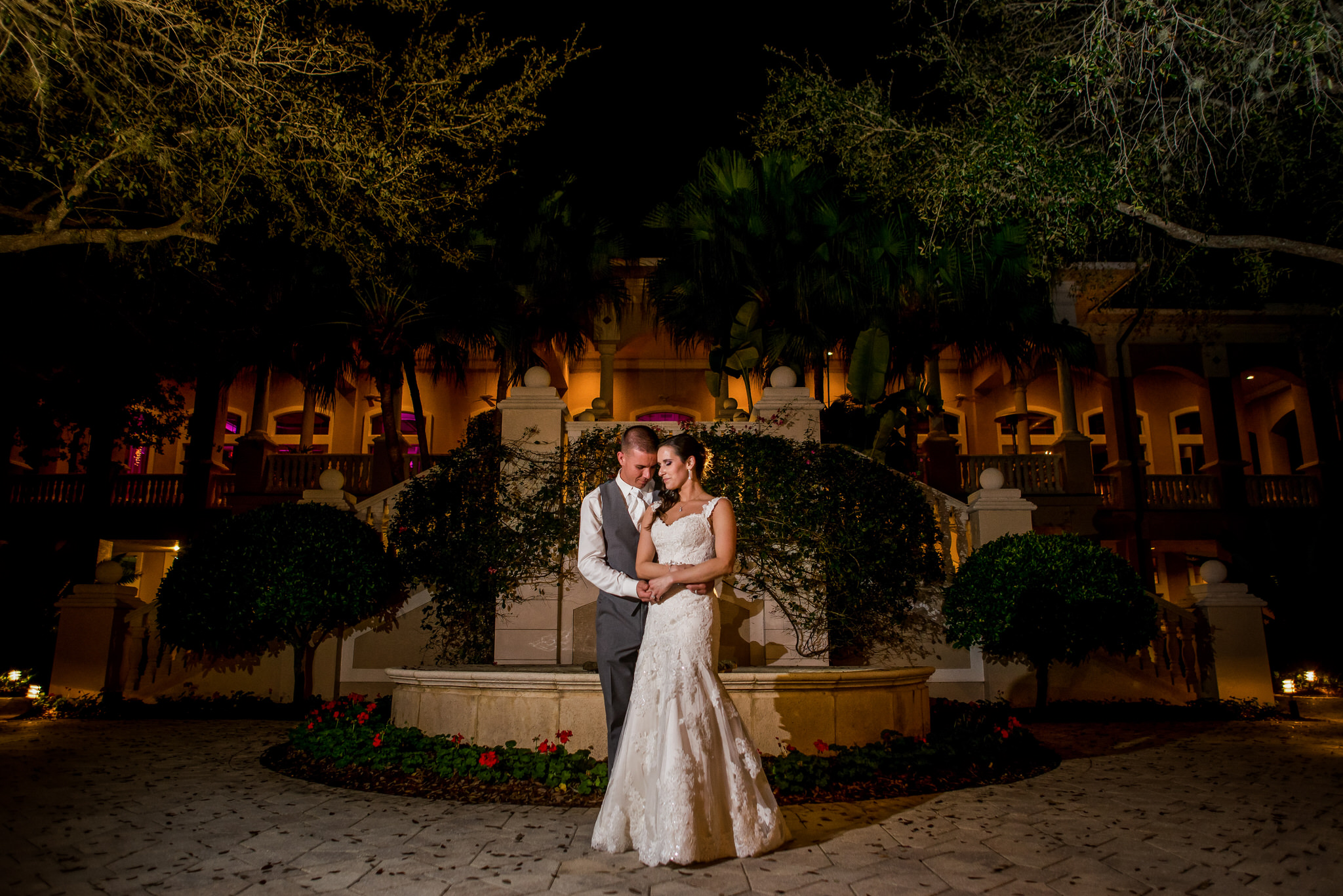 Night Portrait of Bride and Groom at the Club at the Strand in Naples, Florida