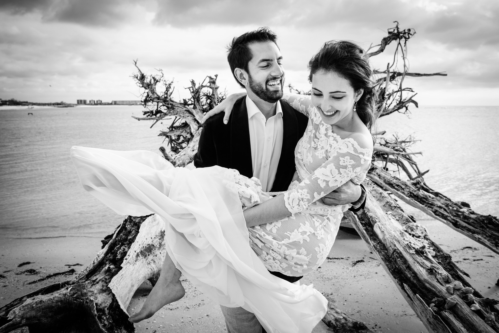 Lover's Key State Park Wedding Portrait at the Drift Wood