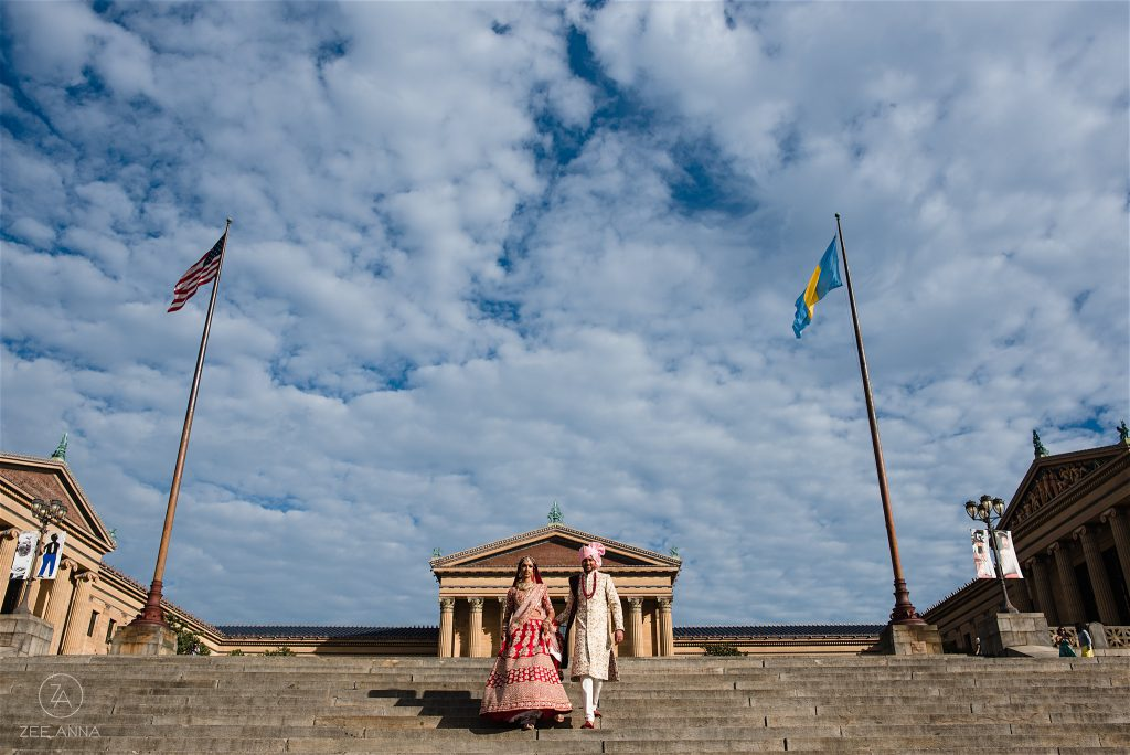 Indian Couple at the steps of the philadelphia museum of art by Zee Anna Photography